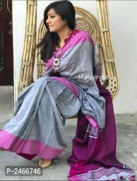 Multi colored Handloom khadi cotton saree