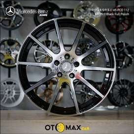 Velg Mobil Mercedes Benz AMG RING 19 Black Full Polish
