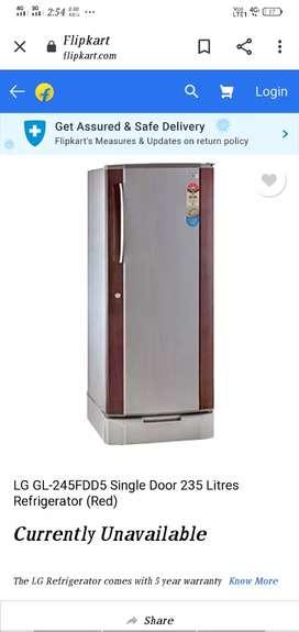 LG  Single Door . 235 litres Refrigerator . 3Star Energy Rating