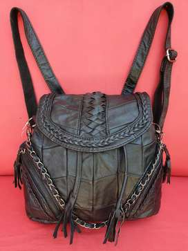 Tas import eks fashion kulit asli hitam unik 3 in 1