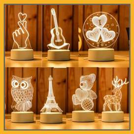 Lampu Tidur Hias LED 3D Acrylic Transparant Kaca Bening