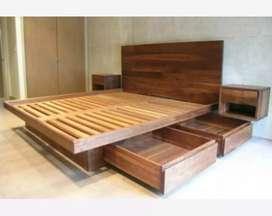 Tempat tidur minimalis material solid kayu jati.