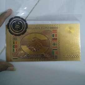 Uang EURO Satu Juta Gold Foil 24k New Souvenir Koleksi