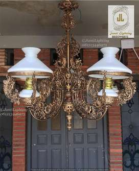 dekorasi rumah joglo lawasan lampu hias gantung klasik antik repro