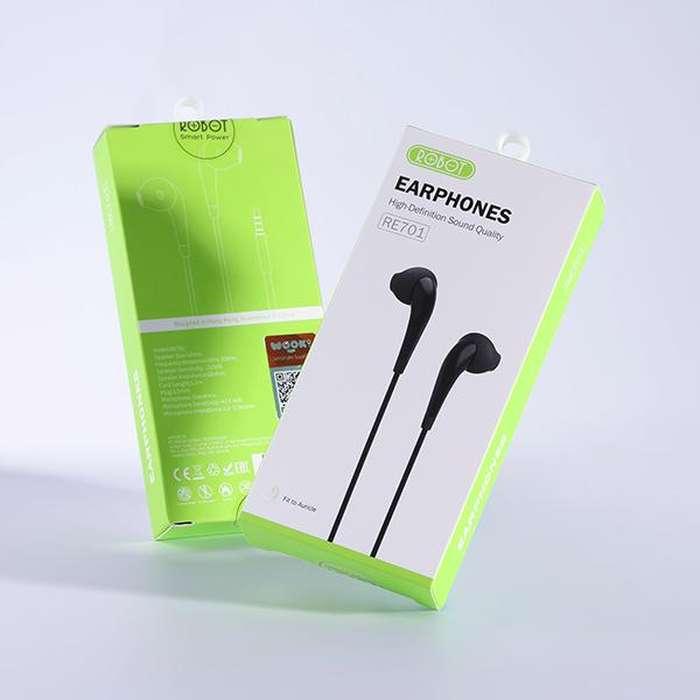 Handsfree Headset Robot RE701 Flat Earphone High Definition Original 0