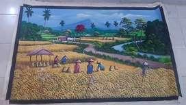 lukisan kanvas panen padi