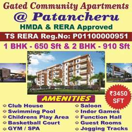 3 bhk flats are available at Patancheru