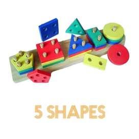 Balok Puzzle Kayu Murah- Geo 5 Bentuk