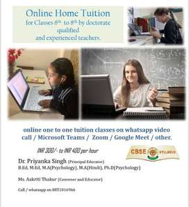 Online Tuition (one to one only)