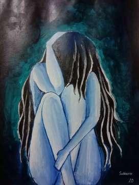 Abstract Art of Sad girl