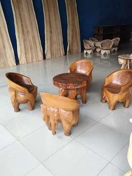 Set kursi tamu ukir motif gajah