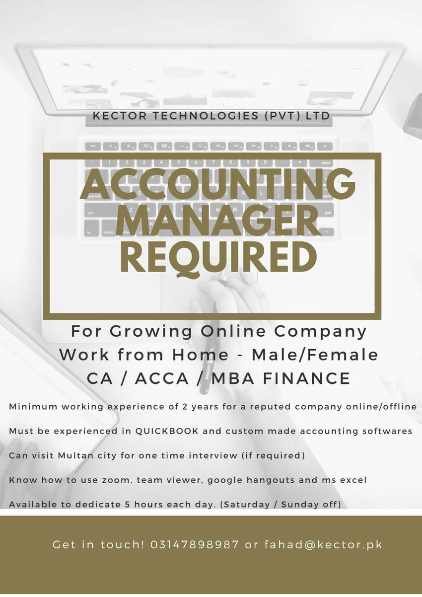 Accounting Manager for Growing Online Company - Work from Home 0