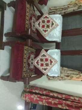Brown Wooden Framed White Padded Sofa Set