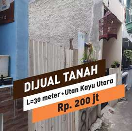 Dijual Tanah kosong 30 meter, di Utan Kayu Matraman.