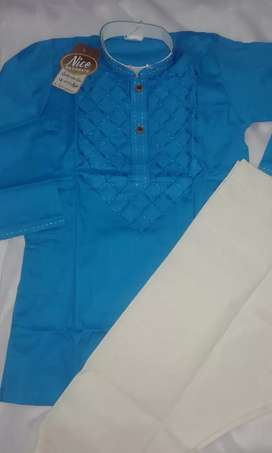 Embroidered shirt with white Salwar