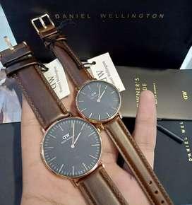 jam tangan couple dw classic black strap coklat tua kulit 32-40mm new