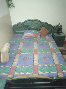 Double bed with two side tables & two chairs & dressing table