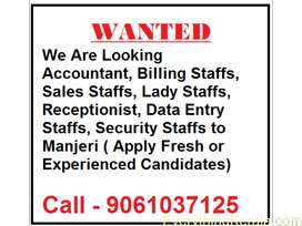 WANTED FOR FRESHERS AND EXPERIENCE