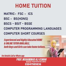 Home Tutor for Matric/FSC/ICS/BSCS and All Programmimg Classes