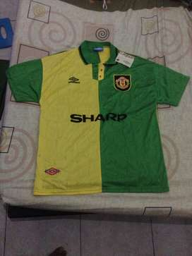 jersey bola manchester united 92 kuning hijau size L