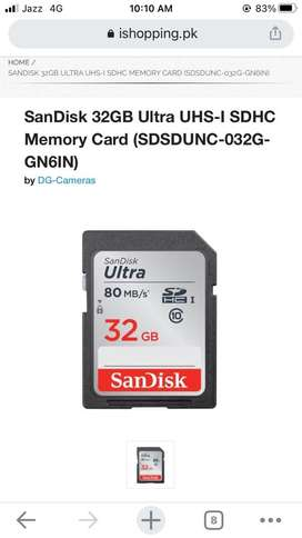 San Disk Ultra Plus 32 Gb   80MB/s