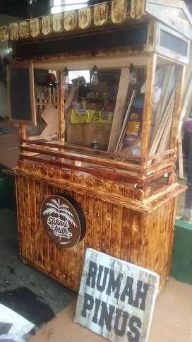 Booth kayu jati belanda, booth susu kurma, stand murah meriah