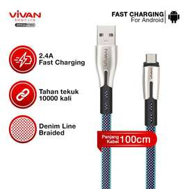 VIVAN Kabel Data USB Micro Fast Charging Original BTK-M 2.4A Android