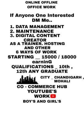 Online offline work office work Chandigarh Mohali