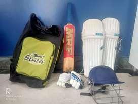 Cricket full set - Bat, pad, gloves, helmet