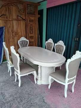 Kursi makan finishing putih kayu jati