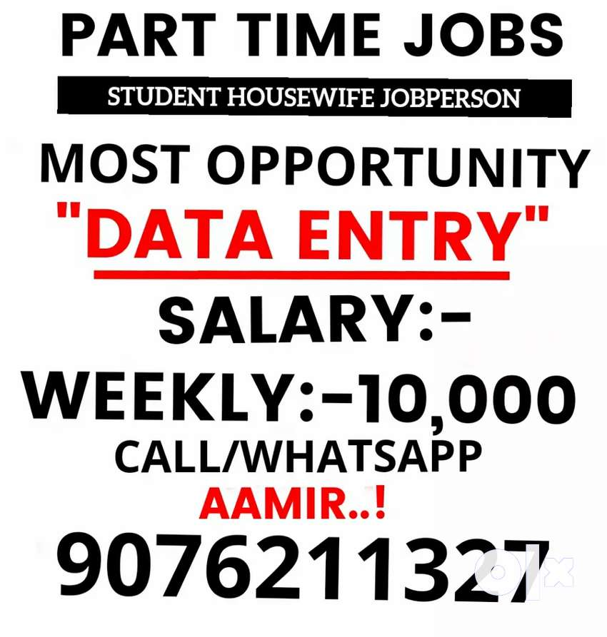 2-3 hours part time job weekly salery 10000 to 40000 0