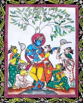 Pattachitra painting of lord krishna with gopies.
