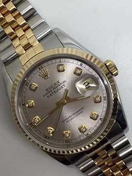Rolex Men 18KSS Silver indek diamond