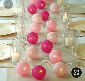 Handmade Cotton Ball String Lights for Decoration