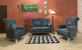 Sofa Ruang Tamu 2 Seater + 1.1 Seater Wing Chair Standart +Meja Klasik