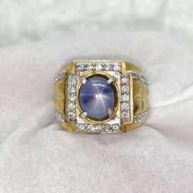 Natural 3.53 CT Srilangka Star Blue Sapphire Ceylon Silver Ring Memo