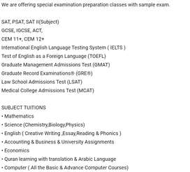 Online Tuition Classes All Subjects