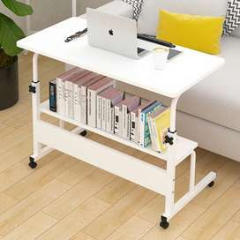 Laptop table adjustable in white rods, whit sheet jet white