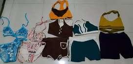 Baju renang dan senam (semua 5psc sepasang and 1 atasan )