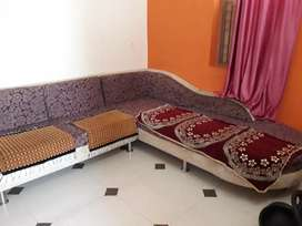 In main road touch society 1 bhk on first floor furnished