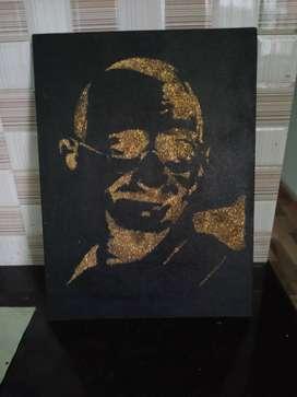 Hand made glitter art of gandhiji