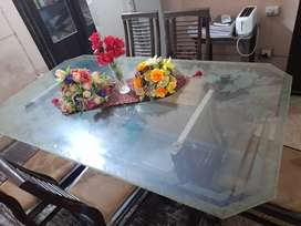 Complete DOUBLE GLASS TOP WOODEN table with chairs