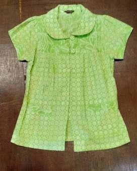 Blouse Gaya batik hijau Size s
