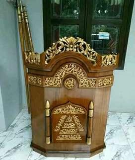 Mimbar masjid podium kayu jati solid