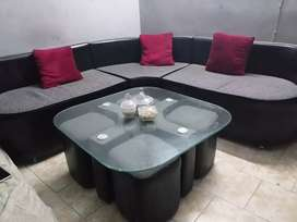 5 seater L shape sofa set with table