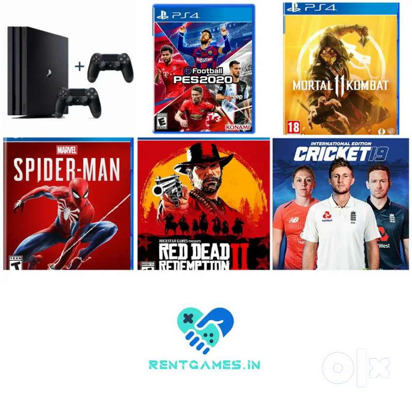 PS4 pro console rental with 2 controllers and games free 0