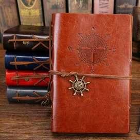 PHANTACI Buku Catatan Binder Kulit Retro Compass Kertas A5 - ZB045