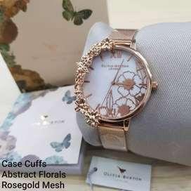 Olivia Burton Case Cuffs Abstract Florals RoseGold Mesh Original