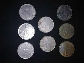 Old 25 paise coins /8 coins