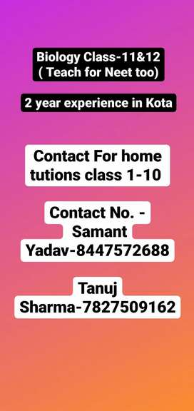 contact for home tutions classes 1-10 Bio faculty for class-11&12th